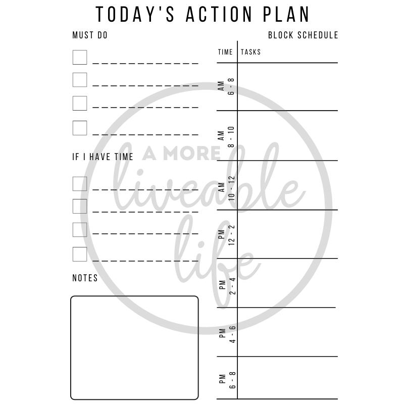 Todays Action Plan Block Schedule Printable
