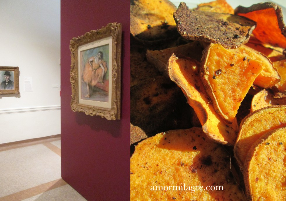 Warm Glow, Japanese Sweet Potato Mash, Baked Cinnamon Sweet Potato Chips Recipe and Photography by amormilagre.com Organic Vegan Recipes, Healthy. Artwork, Stationery, Organic Apparel, and Custom Gifts. Degas Pastel Ballet Dancer Painting Drawing. Melting Snow. Art Museum.