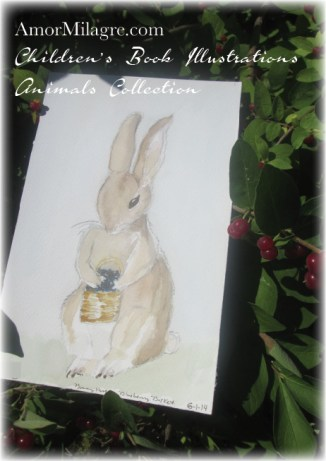 Amor Milagre Watercolor Bunny Rabbit with Blueberry Basket The Shop at Dove Cottage Children's Book Illustrations beautiful for all spaces and ages, especially in a nursery amormilagre.com