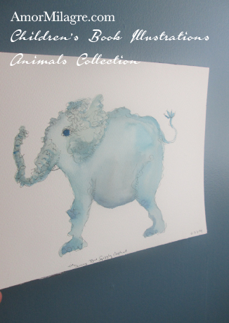 Amor Milagre Children's Book Illustrations Animals The Squiggly Blue Elephant amormilagre.com