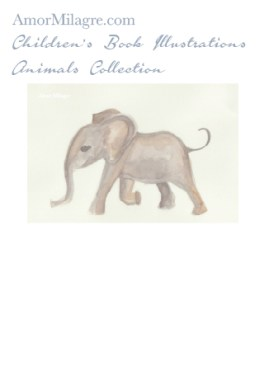 Amor Milagre Children's Book Animals Illustrations The Baby Elephant 1 nursery amormilagre.com