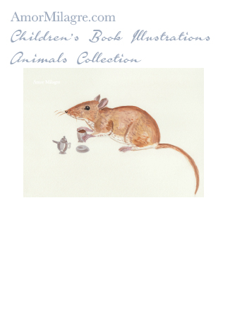 Amor Milagre Children's Book Animals Illustrations The Mouse's Tea Party 1 nursery amormilagre.com