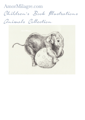 Amor Milagre Children's Book Animals Illustrations The Playful Elephant beautiful for all spaces and ages, especially in a nursery amormilagre.com