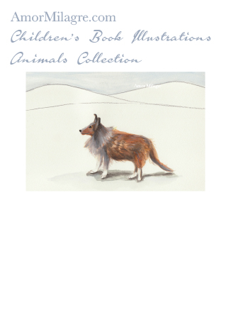 Amor Milagre Children's Book Animals Illustrations The Sheltie Dog Custom Pet Portrait beautiful for all spaces and ages, especially in a nursery amormilagre.com