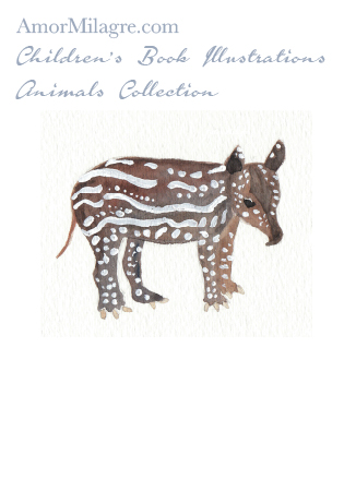 Amor Milagre Children's Book Animals Illustrations The Tapir beautiful for all spaces and ages, especially in a nursery amormilagre.com