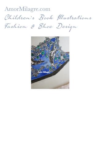 Amor Milagre Fashion & Shoe Design Detail 1 Children's Book Illustrations Shoe Design Book Lucca Beaded Embroidered Blue Shoe Design amormilagre.com