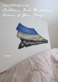 Amor Milagre Fashion & Shoe Design Lace Blue Velvet Black Sculptural Heel Children's Book Illustrations Shoe Design Book Dream Shoe Design amormilagre.com