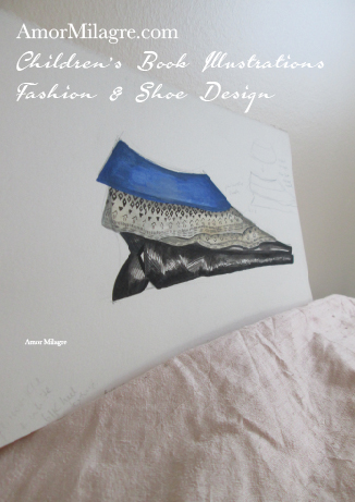 Amor Milagre Fashion & Shoe Design Lace Blue Velvet Black Sculptural Heel Children's Book Illustrations Shoe Design Book Dream Shoe Design amormilagre.com