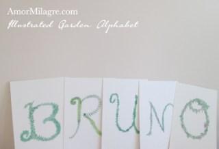 Amor Milagre Illustrated Garden Alphabet Letter BRUNO Tiger amormilagre.com