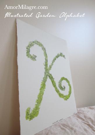 Amor Milagre Illustrated Garden Alphabet Letter K Green Leaf 1 custom initials name word amormilagre.com