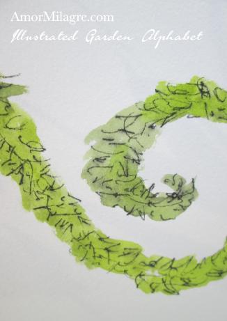 Amor Milagre Illustrated Garden Alphabet Letter K Green Leaf 2 custom initials name word amormilagre.com