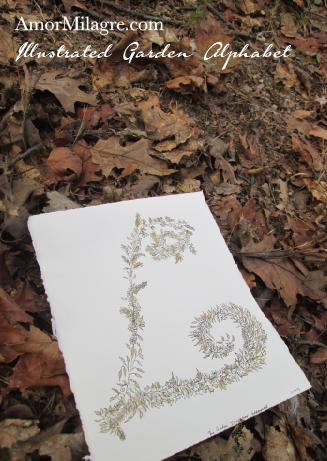 Amor Milagre Illustrated Garden Alphabet Letter L Golden Leaf 1 custom initials name word amormilagre.com