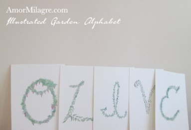 Amor Milagre Illustrated Garden Alphabet Letter OLIVE Tiger amormilagre.com