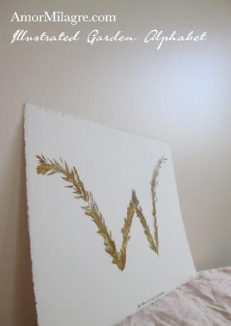 Amor Milagre Illustrated Garden Alphabet Letter W Golden Leaf custom initials name word amormilagre.com