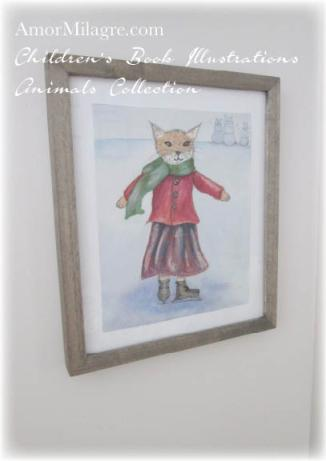 Amor Milagre Watercolor Isla Fox Iceskating in November The Shop at Dove Cottage Children's Book Illustrations beautiful for all spaces and ages, especially in a nursery 1 amormilagre.com