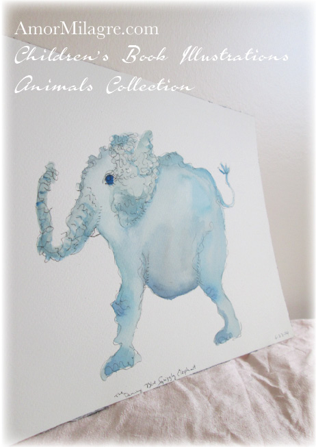 Amor Milagre Watercolor The Blue Squiggly Elephant The Shop at Dove Cottage Children's Book Illustrations beautiful for all spaces and ages, especially in a nursery amormilagre.com