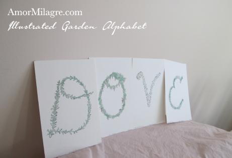 Amor Milagre Illustrated Garden Alphabet Letter The Shop at Dove Cottage amormilagre.com