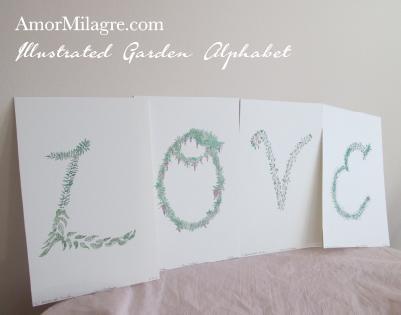 Amor MIlagre Illustrated Garden Alphabet Letter Love Amor Milagre amormilagre.com