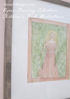Amor Milagre Woman Feeling Calm in Nature's Trees Figure Drawing 2 pink dress fashion & shoe design, children's book illustrations amormilagre.com