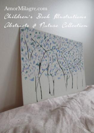 Amor Milagre Blue Trees 1 Spring Abstract Watercolor The Shop at Dove Cottage Children's Book Illustrations beautiful for all spaces and ages, especially in a nursery amormilagre.com