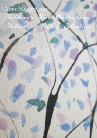 Amor Milagre Blue Trees 2 Spring Abstract Watercolor The Shop at Dove Cottage Children's Book Illustrations beautiful for all spaces and ages, especially in a nursery amormilagre.com