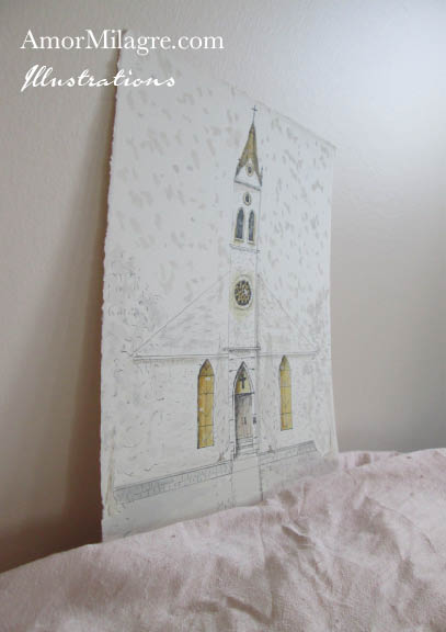 Amor Milagre Church in the Snow Watercolor The Shop at Dove Cottage Children's Book Illustrations beautiful for all spaces ages, nursery amormilagre.com