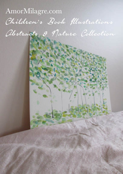 Amor Milagre Green Trees 1 Spring Summer Abstract Watercolor The Shop at Dove Cottage Children's Book Illustrations beautiful for all spaces and ages, especially in a nursery amormilagre.com