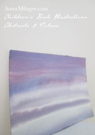 Amor Milagre Hazy Lake Purple Blue Color Nature Paintings Watercolor Abstract The Shop at Dove Cottage Children's Book Illustrations beautiful for all spaces ages, nursery amormilagre.com