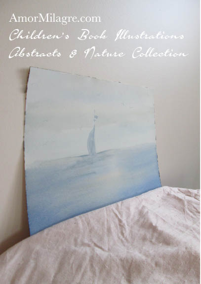 Amor Milagre Maine Sailboats on the Ocean Water 4 Watercolor The Shop at Dove Cottage Children's Book Illustrations beautiful for all spaces and ages, especially in a nursery amormilagre.com