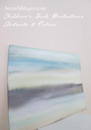 Amor Milagre Morning River Blue Gray Color Nature Paintings Watercolor Abstract The Shop at Dove Cottage Children's Book Illustrations beautiful for all spaces ages, nursery amormilagre.com