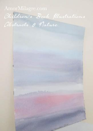 Amor Milagre Mountain Cloud PInk Purple Blue Color Nature Paintings Watercolor Abstract The Shop at Dove Cottage Children's Book Illustrations beautiful for all spaces ages, nursery amormilagre.com