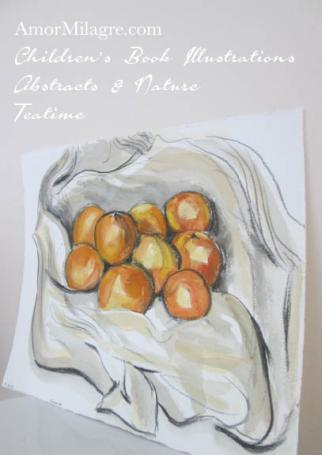 Amor Milagre Oranges Nestled in a Tablecloth Charcoal Watercolor Abstract The Shop at Dove Cottage Children's Book Illustrations beautiful for all spaces ages, nursery amormilagre.com