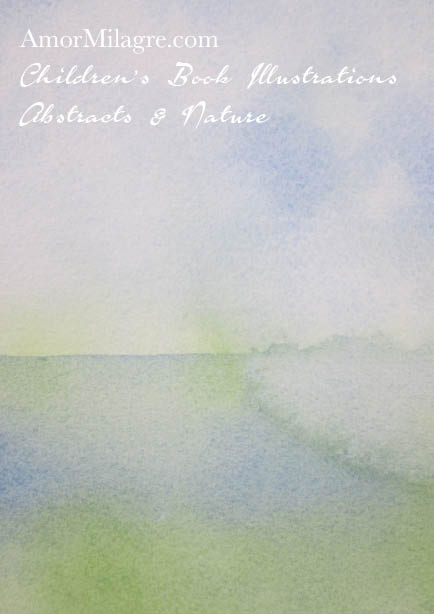 Amor Milagre Reflect Heaven 1 Blue White Green Color Nature Paintings Watercolor Abstract The Shop at Dove Cottage Children's Book Illustrations beautiful for all spaces ages, nursery amormilagre.com
