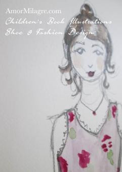 Amor Milagre Rosemary Little Girl 1 Organic Flower Dress Shoe and Fashion Design Watercolor The Shop at Dove Cottage Children's Book Illustrations beautiful all spaces ages, nursery amormilagre.com 1