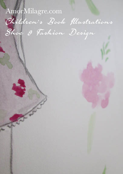 Amor Milagre Rosemary Little Girl Organic Flower Dress Shoe and Fashion Design Watercolor The Shop at Dove Cottage Children's Book Illustrations beautiful all spaces ages, nursery amormilagre.com