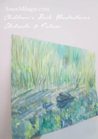 Amor Milagre Turtle Pond waterscape green Color Nature Paintings Watercolor Abstract The Shop at Dove Cottage Children's Book Illustrations beautiful for all spaces ages, nursery amormilagre.com