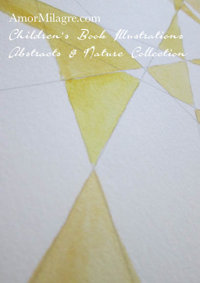 Amor Milagre Yellow Sunshine Rays Abstract Watercolor The Shop at Dove Cottage Children's Book Illustrations beautiful for all spaces and ages, especially in a nursery amormilagre.com