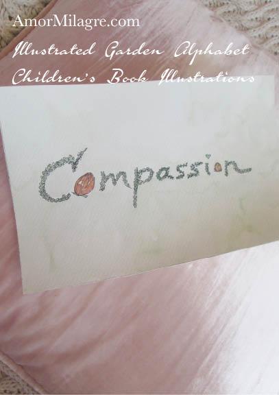 Amor Milagre Illustrated Garden Alphabet Letter Word Compassion topiary 3 leaf flower amormilagre.com