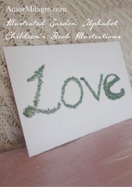 Amor Milagre Illustrated Garden Alphabet Letter Word Love topiary leaf amormilagre.com