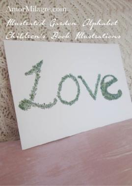 Amor Milagre Illustrated Garden Alphabet Letter Word Love topiary leaf amormilagre.com