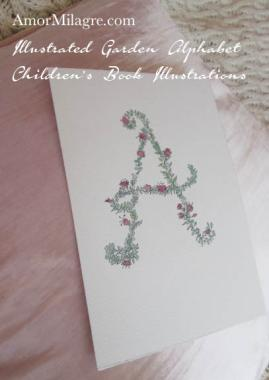 Amor Milagre Illustrated Garden Alphabet Letter A Pink Flowers 1 amormilagre.com Baby & Child Organic Non-Toxic Nursery