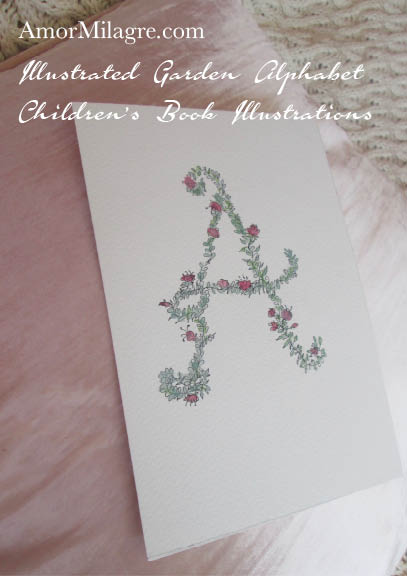 Amor Milagre Illustrated Garden Alphabet Letter A Pink Flowers 1 amormilagre.com