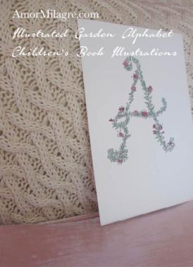 Amor Milagre Illustrated Garden Alphabet Letter A Pink Flowers 2 amormilagre.com
