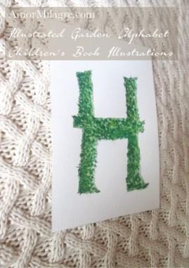 Amor Milagre Illustrated Garden Alphabet Letter H 1 green leaf amormilagre.com