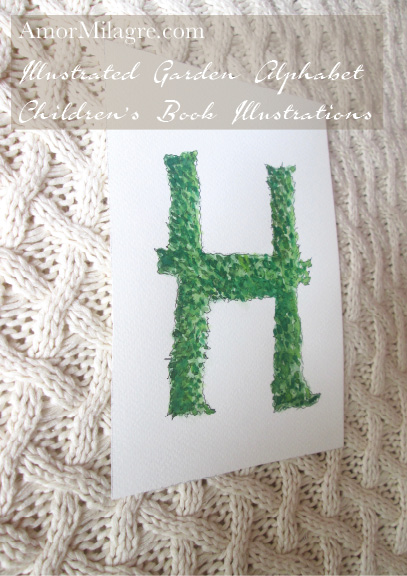 Amor Milagre Illustrated Garden Alphabet Letter H 1 green leaf amormilagre.com