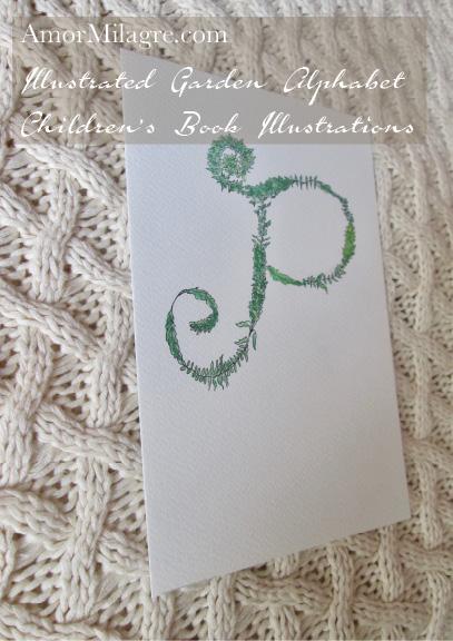Amor Milagre Illustrated Garden Alphabet Letter P 1 amormilagre.com