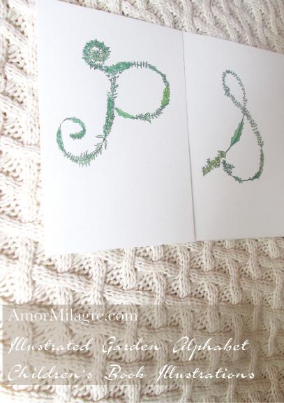 Amor Milagre Illustrated Garden Alphabet Letter P.S. 1 amormilagre.com