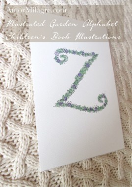 Amor Milagre Illustrated Garden Alphabet Letter Z 1 purple flowers amormilagre.com