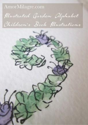 Amor Milagre Illustrated Garden Alphabet Letter Z purple flowers amormilagre.com