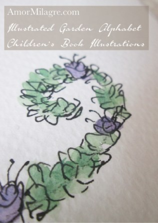 Amor Milagre Illustrated Garden Alphabet Letter Z purple flowers amormilagre.com